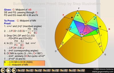 Dynamic Geometry: Butterfly Theorem Proof: Circle, Chord, Midpoint, Inscribed Angle, SAS Similarity, Cyclic Quadrilateral, ASA Congruence. HTML5 Animation for Mobile Devices