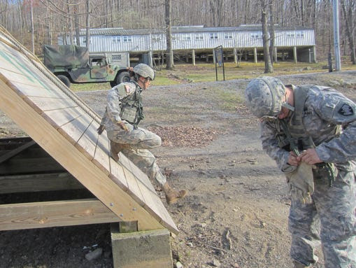 Then-cadet Erin Mauldin trains on the Anzio Obstacle