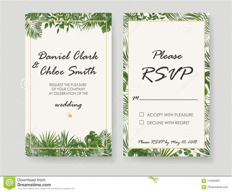 Wedding Invitation, Rsvp Modern Card Design. Vector