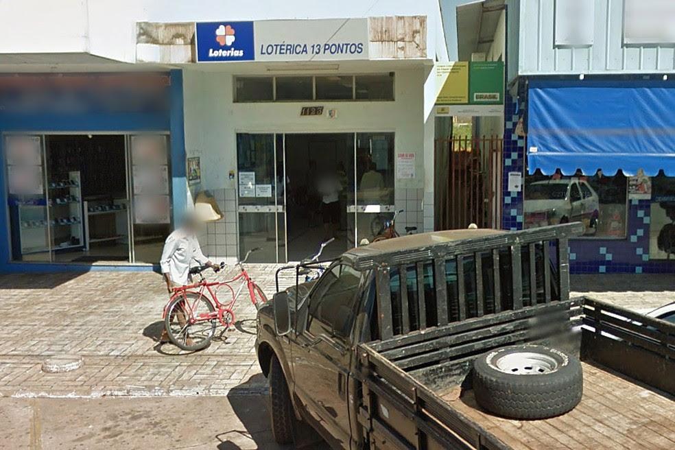 Lotérica da cidade de Jaciara (MT), onde foi feita a aposta vencedora da Mega-Sena (Foto: Reprodução/Google Street View)