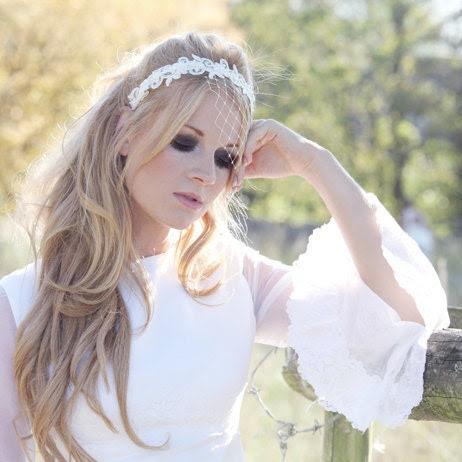 Blush - bridal headband, veil, bridal accessory, wedding headband, lace headband, white, pearl, birdcage veil