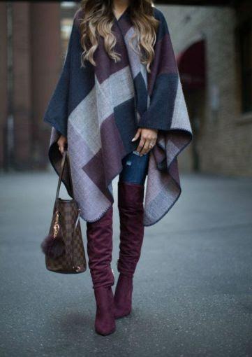 ¡Combínalas con un sofisticado poncho como este!
