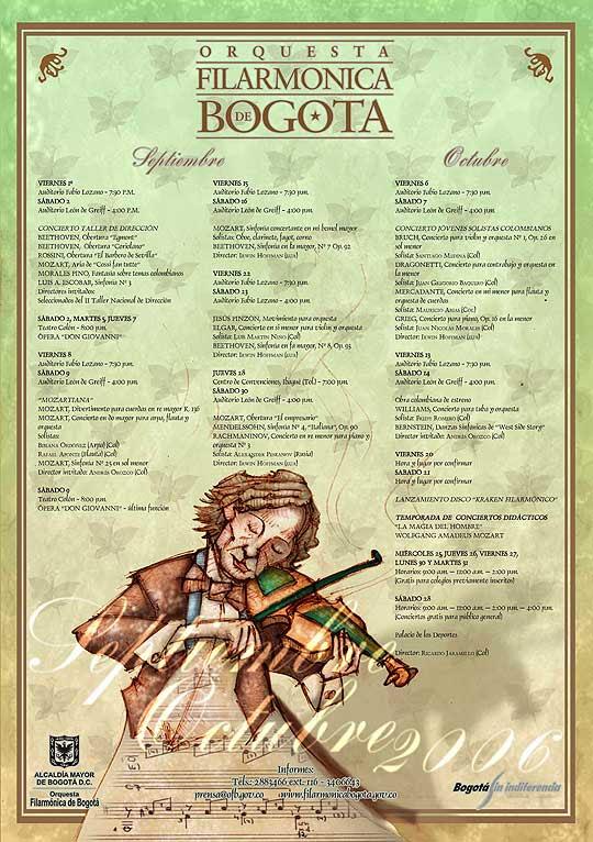 Ilustración y diseño de cartel para Filarmónica de Bogotá