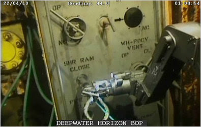 An underwater robot tried to activate the blowout preventer, a temperamental device that can prevent spills, at the Deepwater Horizon rig in late April.