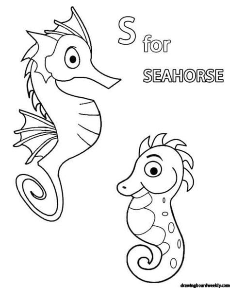 seahorse coloring page drawing board weekly