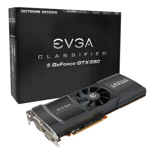 EVGA GeForce GTX 590 Classified 3072 MB GDDR5 PCI Express 2.0 3DVI/Mini-Display Port SLI Ready