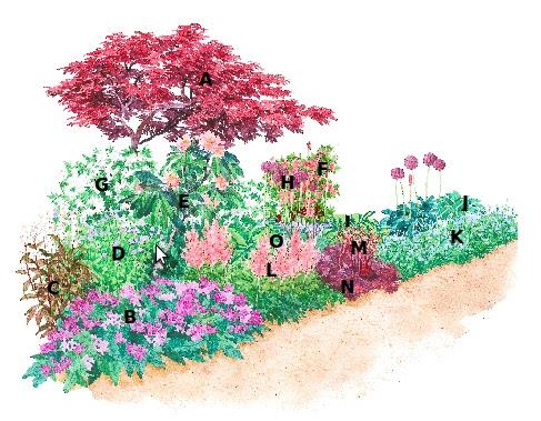 Jardín en tonos rosas