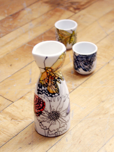 Butterfly sake set  - Sold!