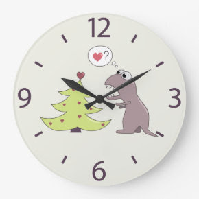 Cute Dinosaur and Christmas Tree Wallclocks