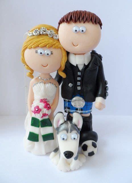 Scottish Bride Groom wedding cake topper with their Husky