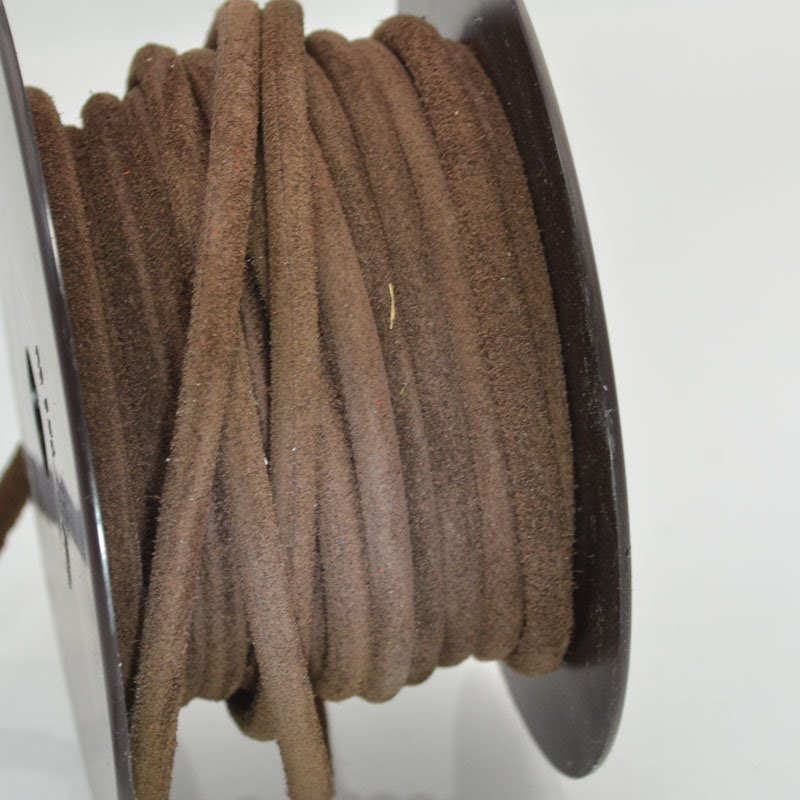 s43985 Leather - 5 mm Hollow Core Round Suede Leather - Brown (Inch)