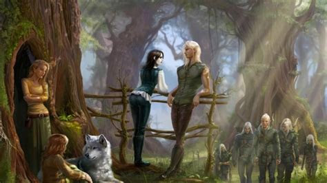 full hd wallpaper elf village forest couple art desktop
