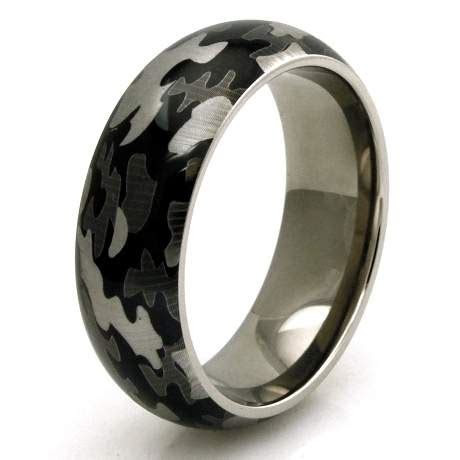 Men's Titanium Green Camo Wedding Band   JustMensRings.com