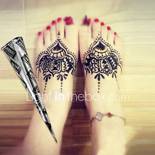 Halloween 12 * Black* Herbal Henna Cones Temporary Tattoo ...