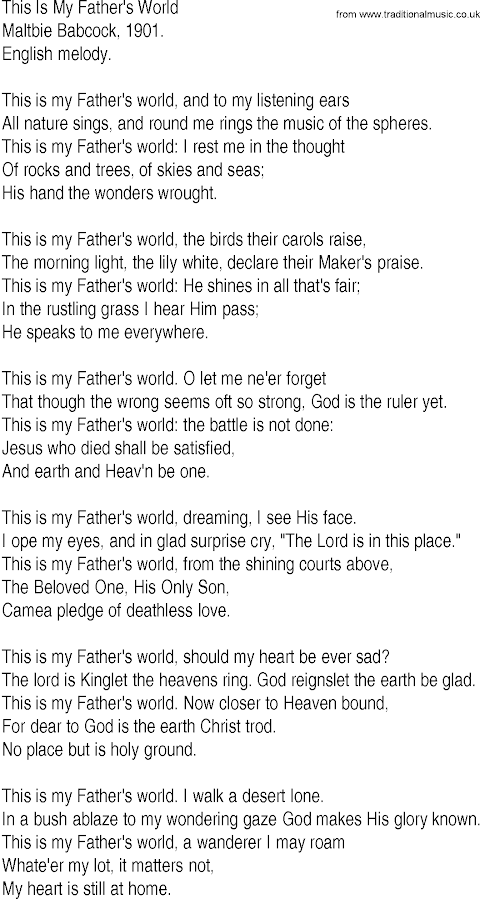 Not My Fathers Son Lyrics