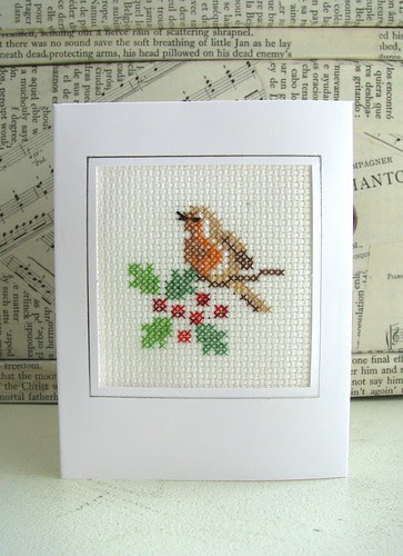 cross stitch robin christmas card by Handmade and Heritage