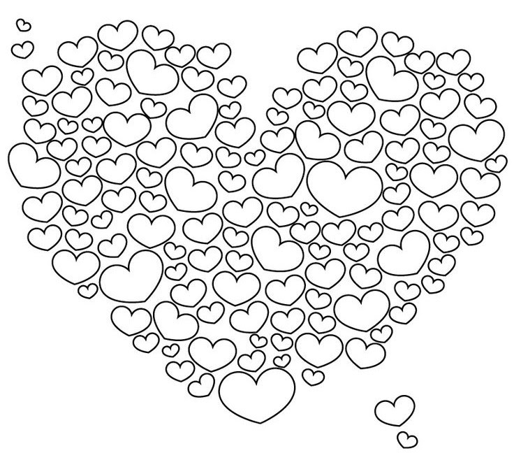 Art Therapy Coloring Page Hearts Cloud Of Hearts 8