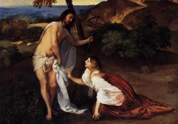 Jesus e Maria Madalena num pormenor de uma obra de Ticiano