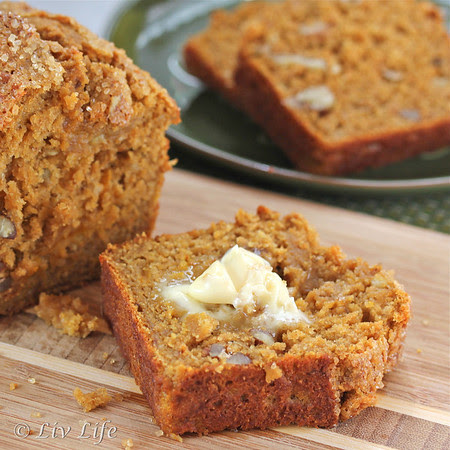 Whole Grain Pumpkin Banana Nut Bread