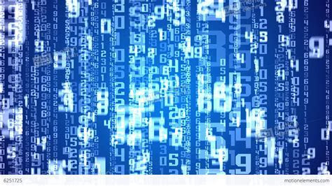 Digital White Numbers As Code Rain On A Blue Backg Stock