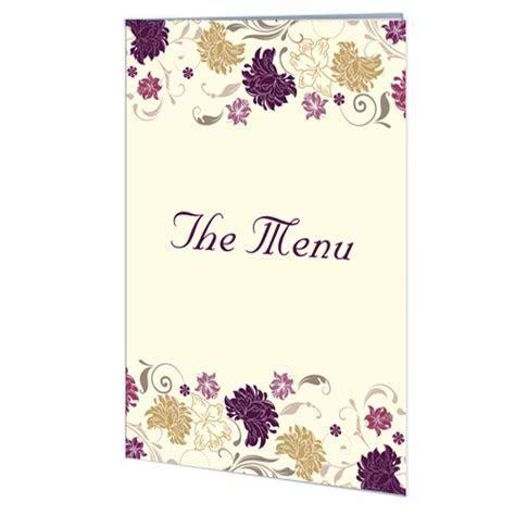 Cream Purple Flower Menu (Folded Card)   Wedding Cards Direct