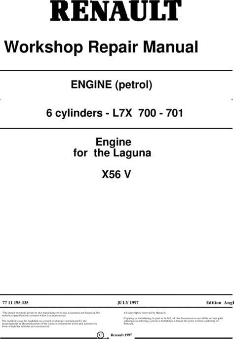 RENAULT PETROL ENGINE X56 WORKSHOP SERVICE REPAIR MANUAL