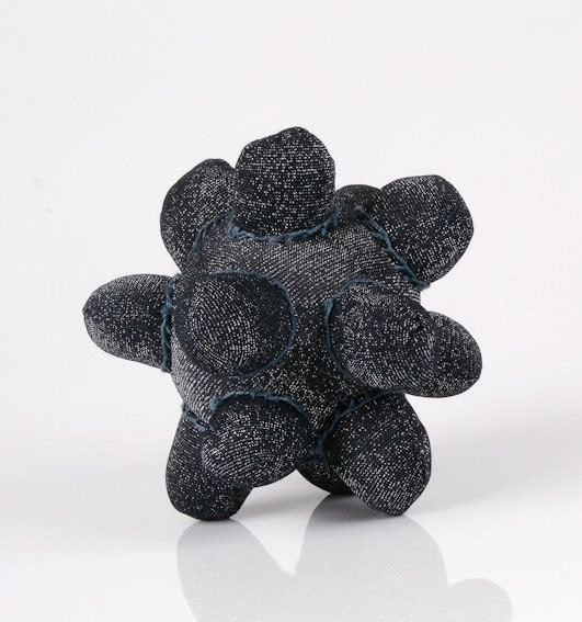 Star - one of a kind Funky ball or star handmade from Shiny black fabric