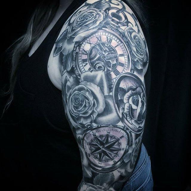 Rose Clock Black Grey Sleeve Remington Tattoo Parlor