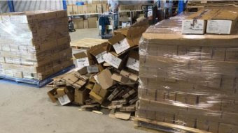 The pallets were wrapped in plastic