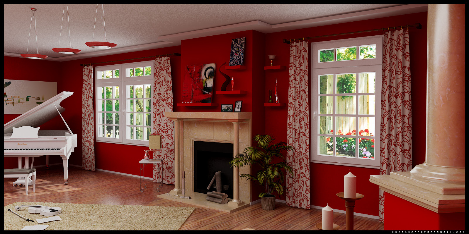 red living room | Interior Design Ideas