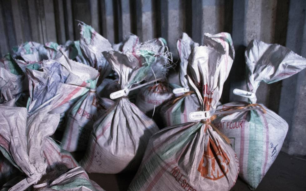 Bolsas de wolframio ya etiquetadas, para que su origen pueda ser trazado.
