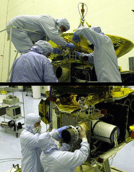 Engineers install the PEPSSI (top photo) and SWAP instruments onto the New Horizons spacecraft in 2005.