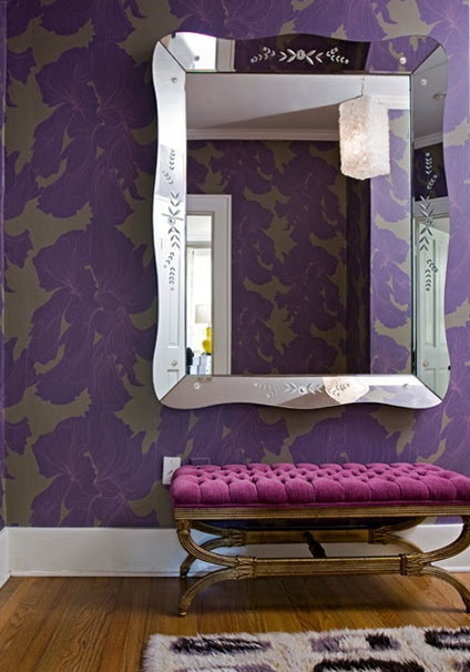Angie Hranowski - Amazing purple foyer with purple & gray floral wallpaper, fuchsia ...