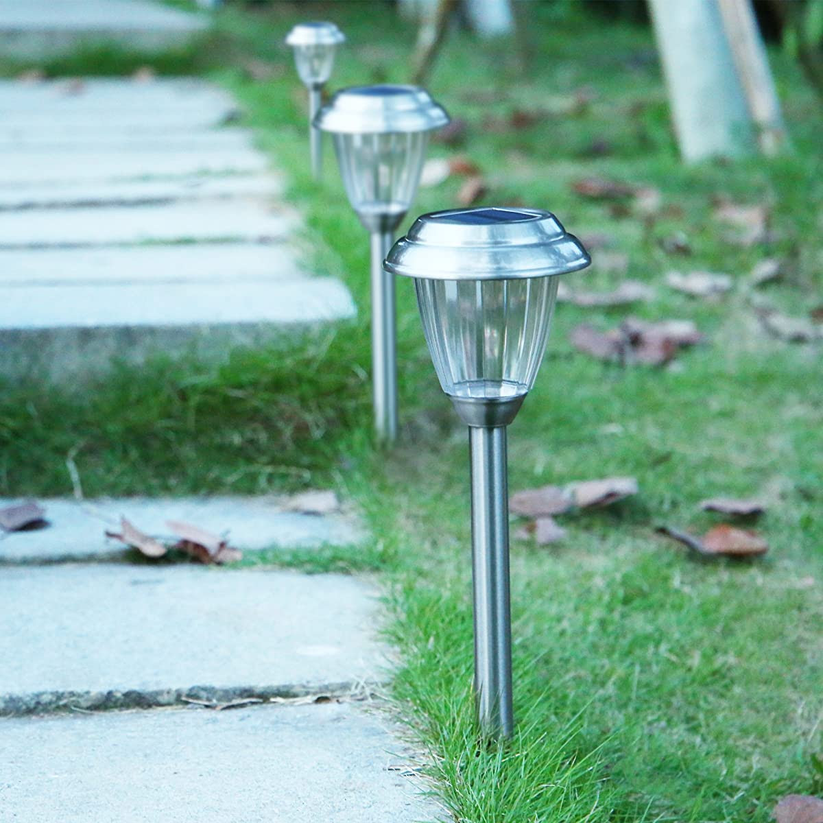Voona Solar LED Outdoor Lights 8Pack Stainless Steel Pathway Landscape lights For Outdoor Path