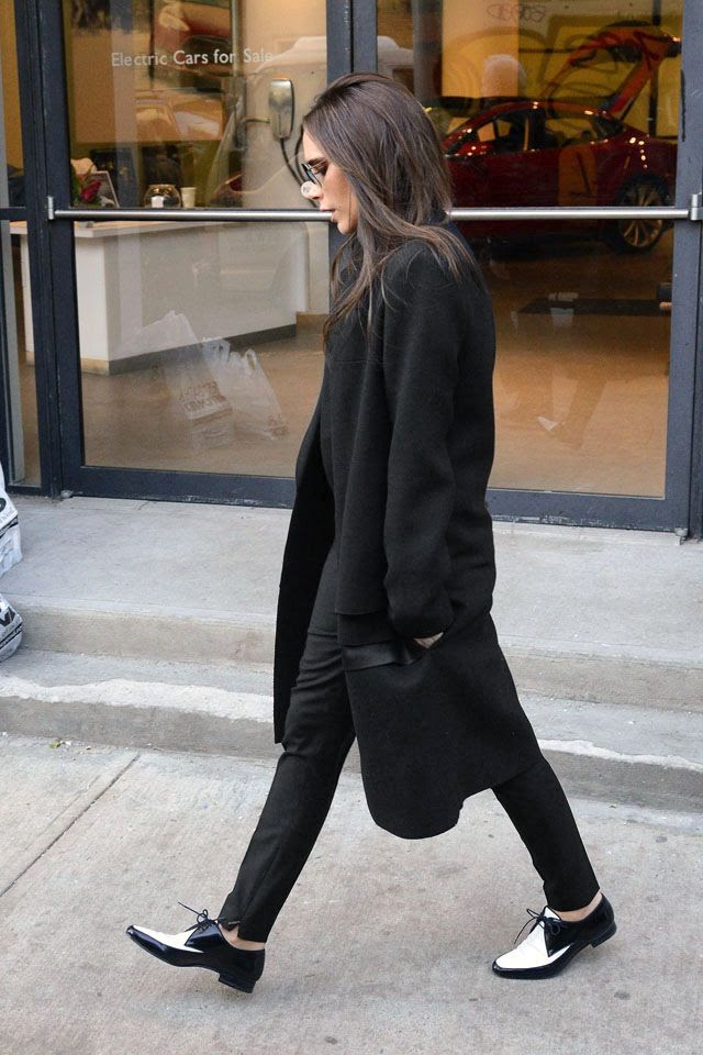 Le Fashion Blog -- Victoria Beckham In A Black Coat & Two-Tone Saint Laurent Derby Shoes -- photo Le-Fashion-Blog-Victoria-Beckham-Black-Coat-Flats-Two-Tone-Saint-Laurent-Derby-Shoes.jpg