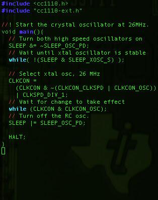 CC1110 Crystal Shellcode