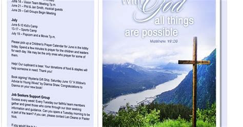 Church Bulletin Templates : Mountain With God All Things