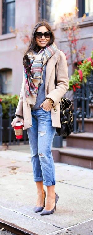 Boyfriend Jeans   Oversized Plaid
