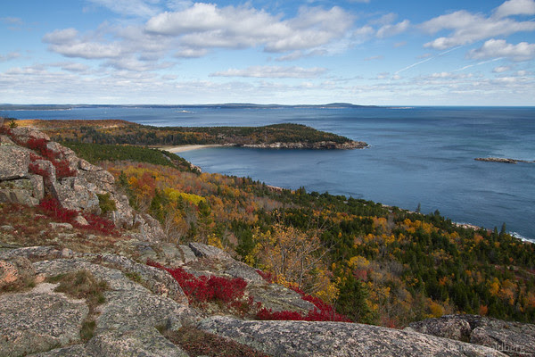 sand beach from on top of Gorham Mountain