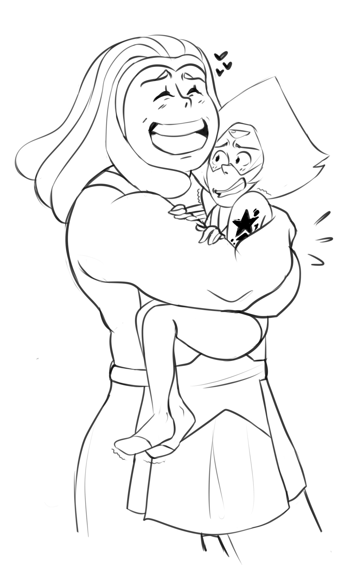 lineart commission i did for @tripodarts based of @elasticitymudflap barnsmuth idea! it was really cute to draw ;;