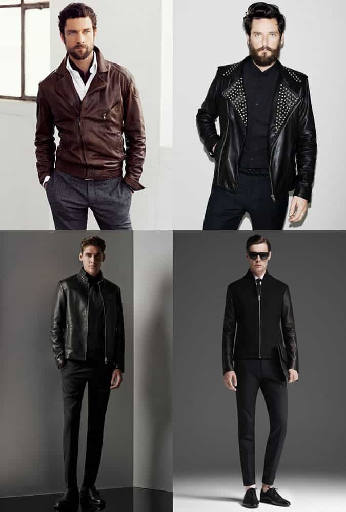 Men's Leather Jackets Instead of Suit Blazers Outfit Inspiration Lookbook