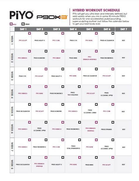 piyo px workout schedule fitness inspiration