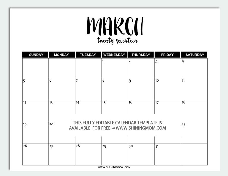 Calendar March 2017 Word – 2017 March Calendar