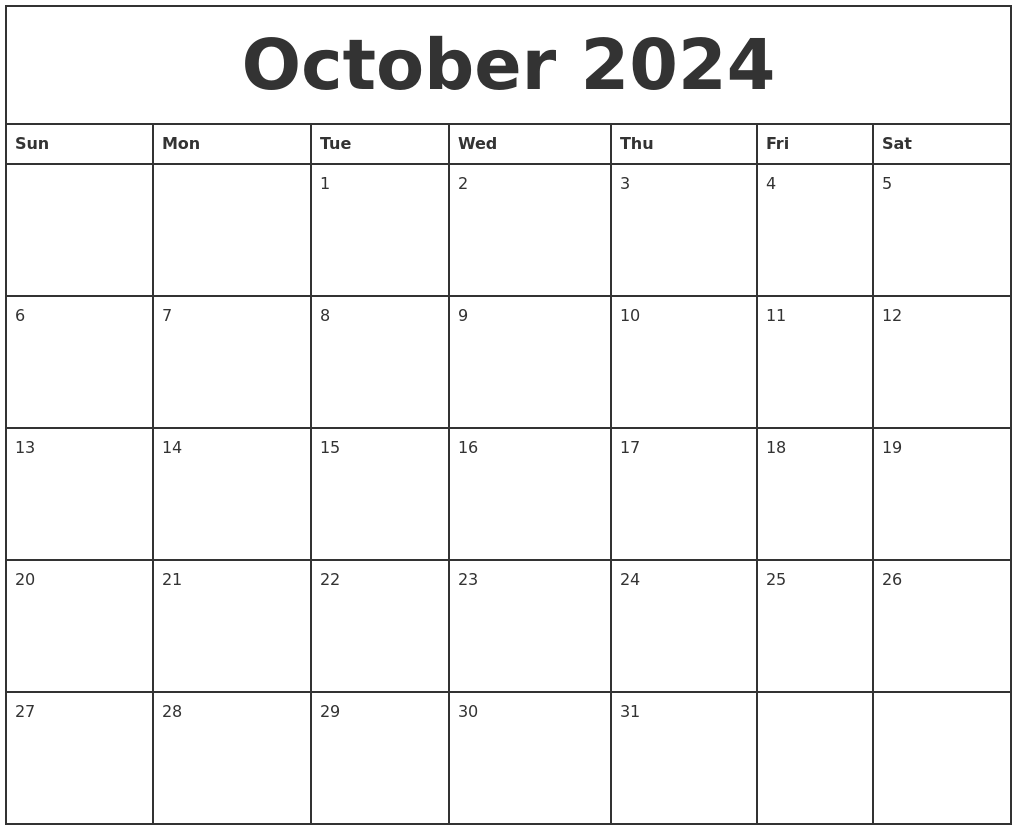 october 2024 printable monthly calendar
