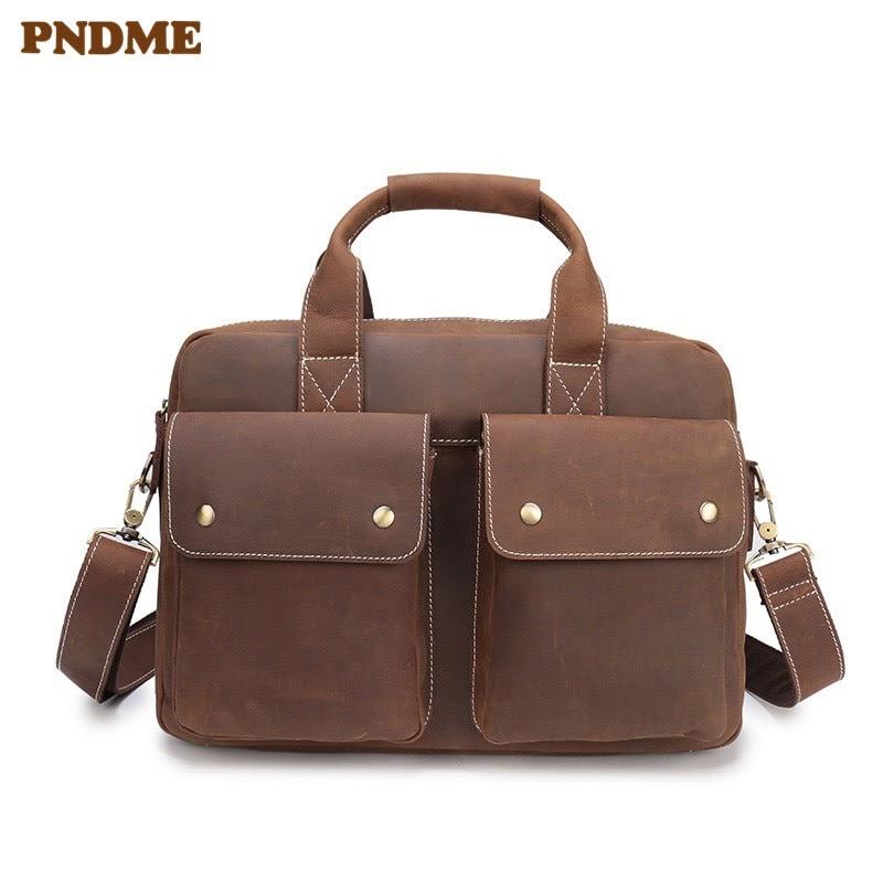 Discount PNDME vintage business crazy horse leather men's briefcase genuine leather 14 inch laptop bag casual simple large messenger bags