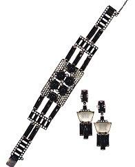 Art Deco pulseira e brincos