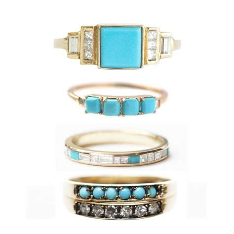 Turquoise & Diamond Wedding Rings! Obsessed! (instagram