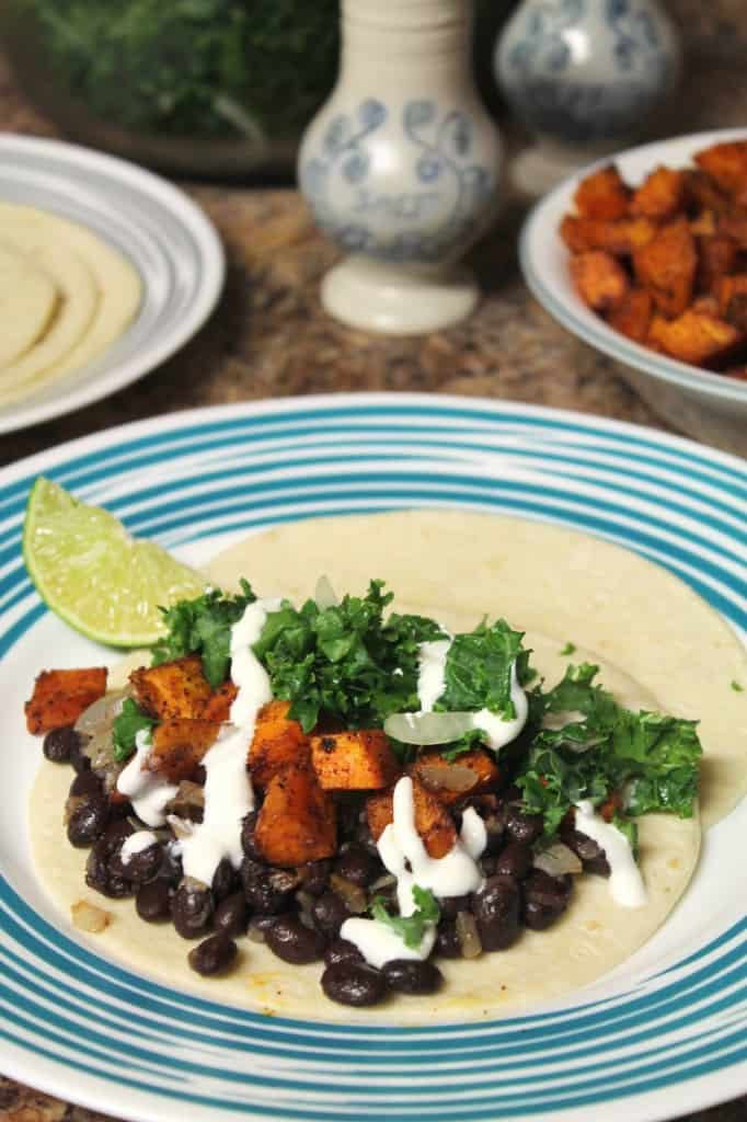 Roasted Sweet Potato Tacos with Black Beans and Kale Ceviche 2