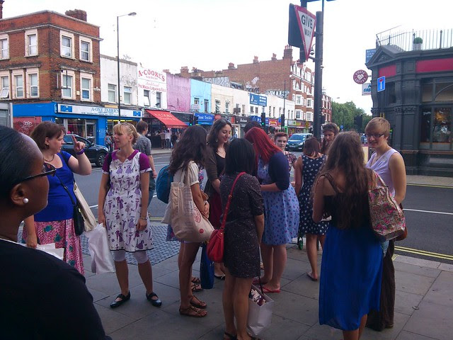 Sewing fans outside Goldhawk Road tube station