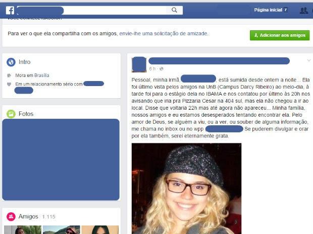 Publicação de irmã em rede social sobre desaparecimento de estudante da UnB (Foto: Facebook/Reprodução)